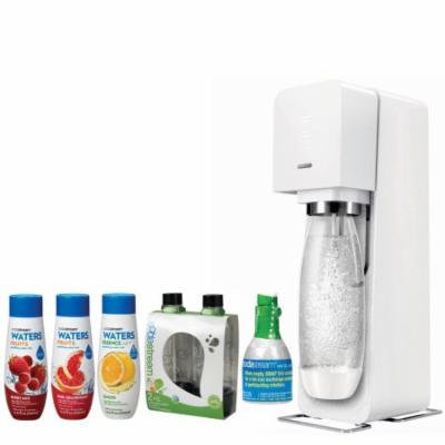 SodaStream Source Home Soda Maker Starter Kit, White, 1L Carbonating Bottles Black, water Fruits w/ Berry Mix & Pink Grapefruit Flavor & Waters Essence w/ Lemon Flavor