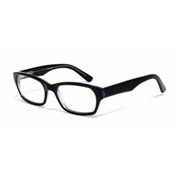 Calabria Viv Designer Reading Glasses 803 in Black & Purple :: Demo Lens
