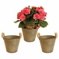 WaldImports Galvanized Metal Container with Burlap Handle (Set of 3)