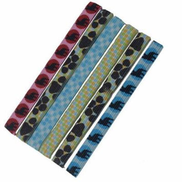 Knotties Girls Blue Red Black Animal Print Dotted Ponytail Holder Set