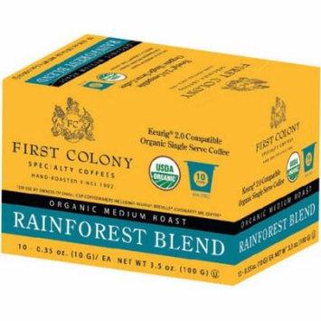 First Colony Organic Medium Roast Rainforest Blend Coffee Single Serve Cups, .35 oz, 10 count