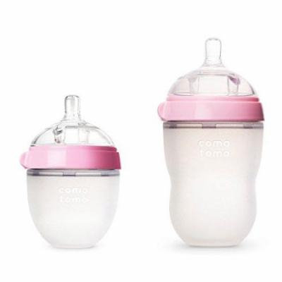 Comotomo Natural Feel Bundle, 8 Oz Baby Bottle Pink & 5 Oz Baby Bottle Pink
