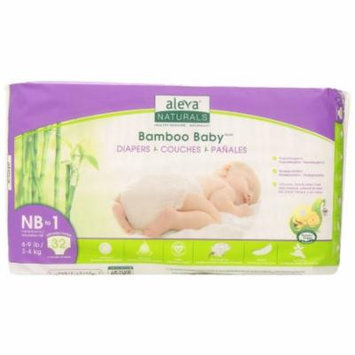 Aleva Naturals Bamboo Baby Diapers, Size Nb (4-9lbs) - 32ct