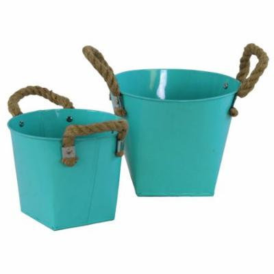 2-Pc Round Bucket Set in Light Blue Finish