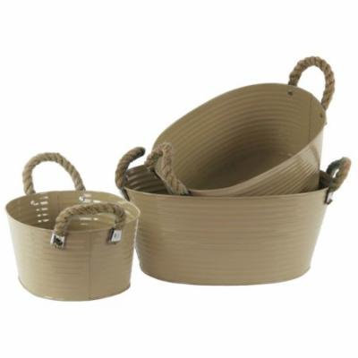 3-Pc Oval Bucket Set in Mocha Brown Finish