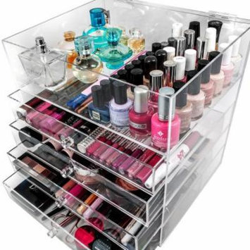 Clear Acrylic Makeup Organizer Cosmetic Organizer and Large 3-Drawer Jewerly Chest