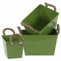 3-Pc Rectangular Bucket Set with Two Rope Handles