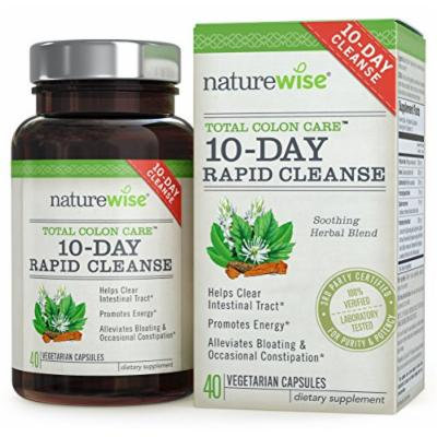 NatureWise 10-Day Rapid Cleanse for Colon Health, Detox, More Energy & Less Bloating, 40 Caps