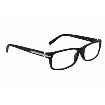 Dr. Dean Edell Unisex Modern Rectangle Black Front and Temples Reading Glass, +1.25