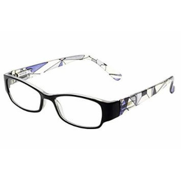 Wink Black Front Translucent Prism Pattern Temples Reading Glass, Purple, +2.50