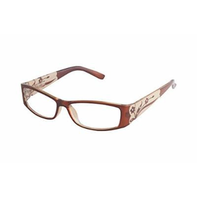 Wink Fabulous Plastic Oval Brown/Tan with Frosted Flower Temples, Rhinestone and Suede Case, +3.00