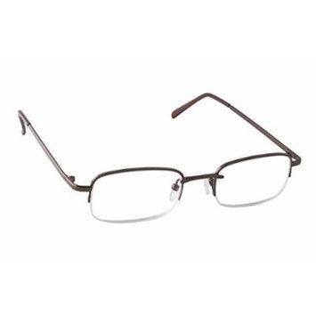 Dr. Dean Edell Select Bronze Metal 1/2 Rim Rectangular Glass and Case, +1.50