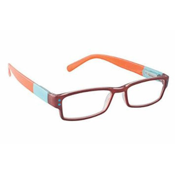 Wink Rectangular Colorblock Reading Glass, Brown/Blue/Orange, +2.00