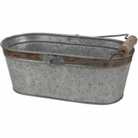 Aged Galvanized Oval Bucket with Rust Trim and Handle