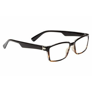 Dr. Dean Edell Rectangle Black/Tort Front Temples Reading Glass with Trim Case, Large, +1.75