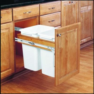 Rev-A-Shelf 4WCTM-18DM2-175 4WCTM Series Double 35 Quart Wood Top Mount Waste Co