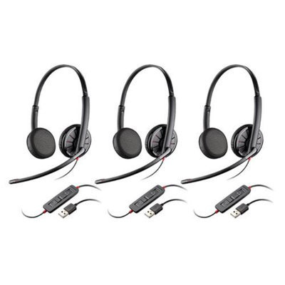 Plantronics 200263-02 Blackwire C325 Stereo Corded Headset 3-pack