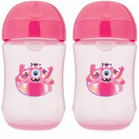 Dr. Brown's Soft-Spout Cup Pink Monster, BPA-Free, 9 oz, 2-pack Pink (Stage 2, 9 Months and Up)