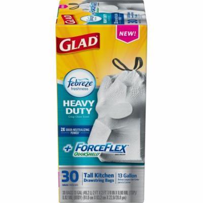 Glad ForceFlex OdorShield Drawstring Tall Kitchen Trash Bags, Heavy Duty, Crisp Clean Scent, 13 Gallon, 30 Count