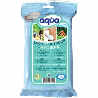 Pre-Moistened no rinse Aqua Outdoor Wash Gloves. 2 count
