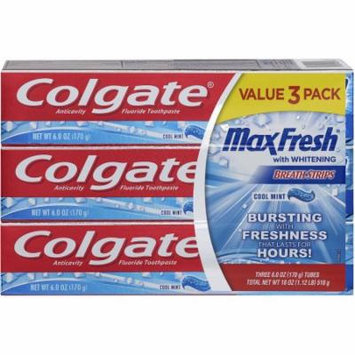 Colgate Max Fresh with Whitening Breath Strips Cool Mint Anticavity Fluoride Toothpaste, 3 count, 6 oz