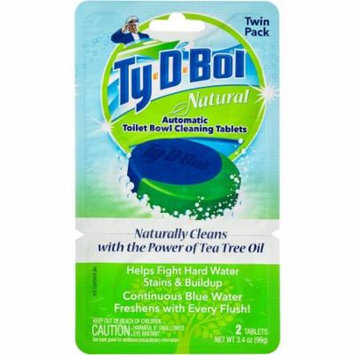 Ty-D-Bol Natural Automatic Toilet Bowl Cleaning Tablets, 2 count, 3.4 oz, (Pack of 6)