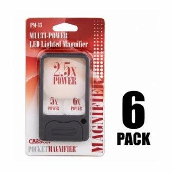 Carson PocketMag Pocket Magnifier w/LED, Grey, 4.3x2.4x.4
