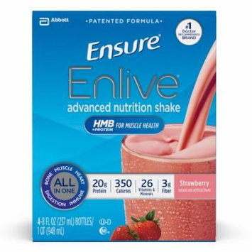 Ensure Enlive Advanced Nutrition Shake, Strawberry, 8 fl oz (4-4 Packs)