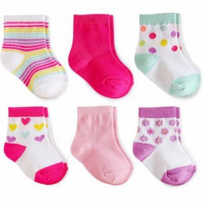 Garanimals Baby Toddler Girl Striped Crew Socks Ages NB-5T, 6-Pack