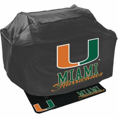 Mr. Bar-B-Q NCAA Grill Cover and Grill Mat Set, University of Miami Hurricanes