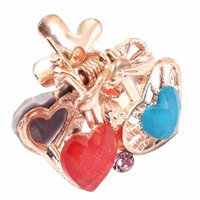 Women Faux Rhinestone Decor Heart Pattern Hair Claw Clip Jaw Hairpin Colorful