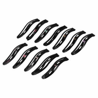 Girls Lady Hairstyling Fashion Metal Snap Hair Clips Hairpin 58mm 12 Pcs Black