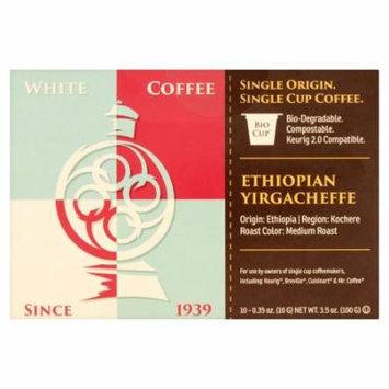 White Coffee Bio Cup Single Origin Single Serve Coffee Ethiopian Yirgacheffe 10 x 0.35 oz (3.5 oz)