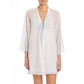 Oscar de la Renta Sleepwear Sheer Printed Wrap - Something Blue