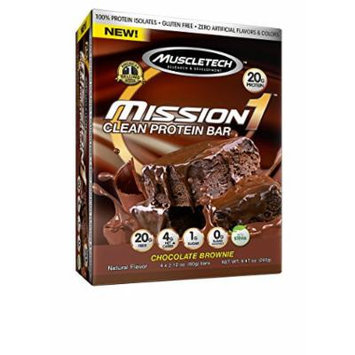 MuscleTech Mission1 Clean Protein Bar, High Protein, Low Fat, Delicious, Chocolate Brownie, 4 count