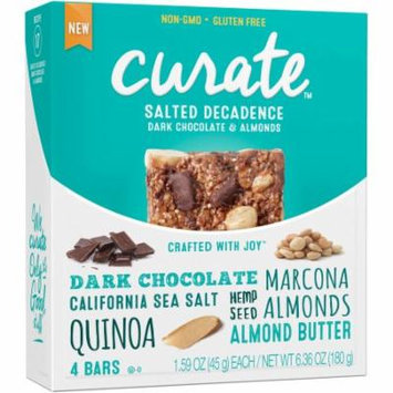 Curate Salted Decadence Dark Chocolate & Almonds Snack Bars, 1.59 oz, 4 count, (Pack of 4)