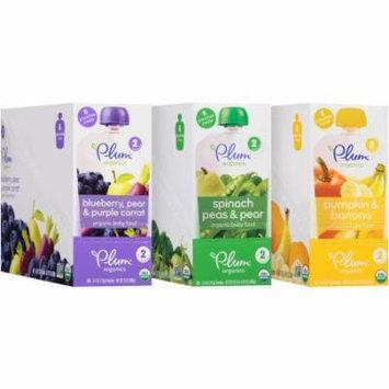 Plum Organics Stage 2 Organic Baby Food Variety Pack, 4 oz, 18 count