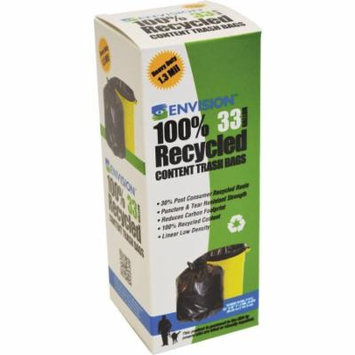 Stout Recycled Plastic Trash Bags, Brown & Black, 33 gallon, 180 count