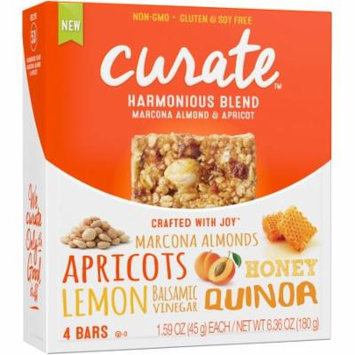 Curate Harmonious Blend Marcona Almond & Apricot Snack Bars, 1.59 oz, 4 count, (Pack of 4)