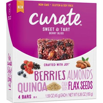 Curate Sweet & Tart Berry Bliss Snack Bars, 1.59 oz, 4 count, (Pack of 4)