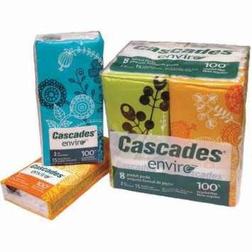 Cascades 2-Ply Facial Tissue Pocket Packs, 15 count, (Pack of 8)