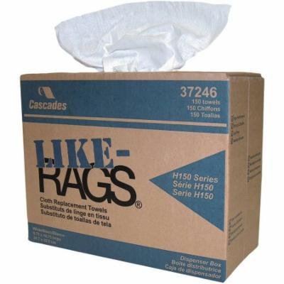 Cascades Like-Rags Spunlace Cloth Replacement Towels, White, 150 count, (Pack of 6)