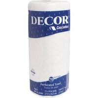 Cascades Decor 2-Ply Perforated Roll Towels, White, 70 count, (Pack of 30)