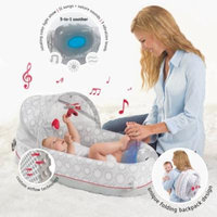 Lulyboo Breathable Baby Travel Bed 3-in-1 w/ Lights, Music, Vibration-Converts to Backpack