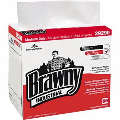 Georgia Pacific Brawny Industrial White 1/4-Fold Wipers, 66 wipes, (Pack of 10)