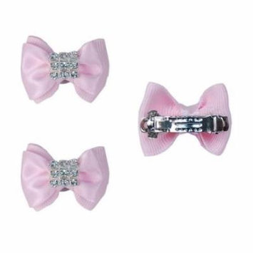 3 Pair French Barrette Pink Satin Hair Bow Bowknot with Rhinestones for Dogs (Include 6 Bows)