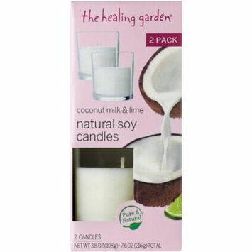 The Healing Garden Coconut Milk & Lime Natural Soy Candles, 3.8 oz, 2 count
