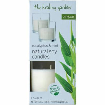 The Healing Garden Eucalyptus & Mint Natural Soy Candles, 3.8 oz, 2 count