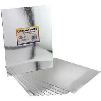 Hygloss Mirror Boards - 8 1/2 x 11 - Pack of 10 - Silver