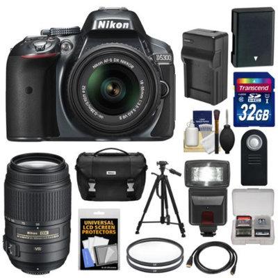 Nikon D5300 Digital SLR Camera & 18-55mm G VR II Lens (Grey) with 55-300mm VR Lens + 32GB Card + Battery & Charger + Case + Flash + Tripod + Kit